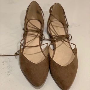 Brown lace up flats